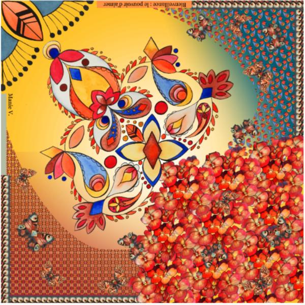 Design Bienveillance de la collection de foulards valeurs Manie V., empowerment féminin