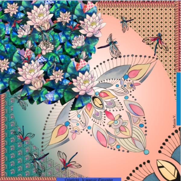 foulard multi-porté, made in France de Manie V. représentant la créativité