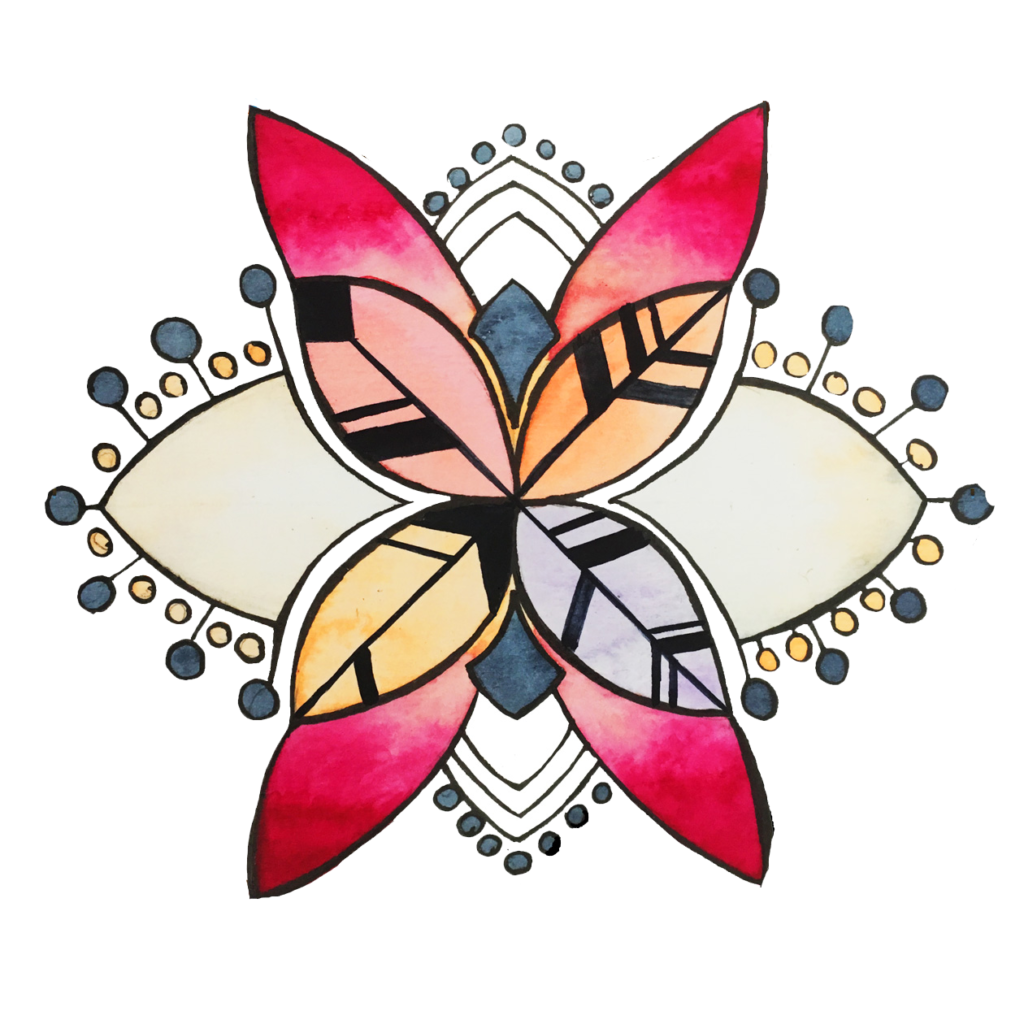 Logo aquarelle des 4 valeurs primaires de Manie V.