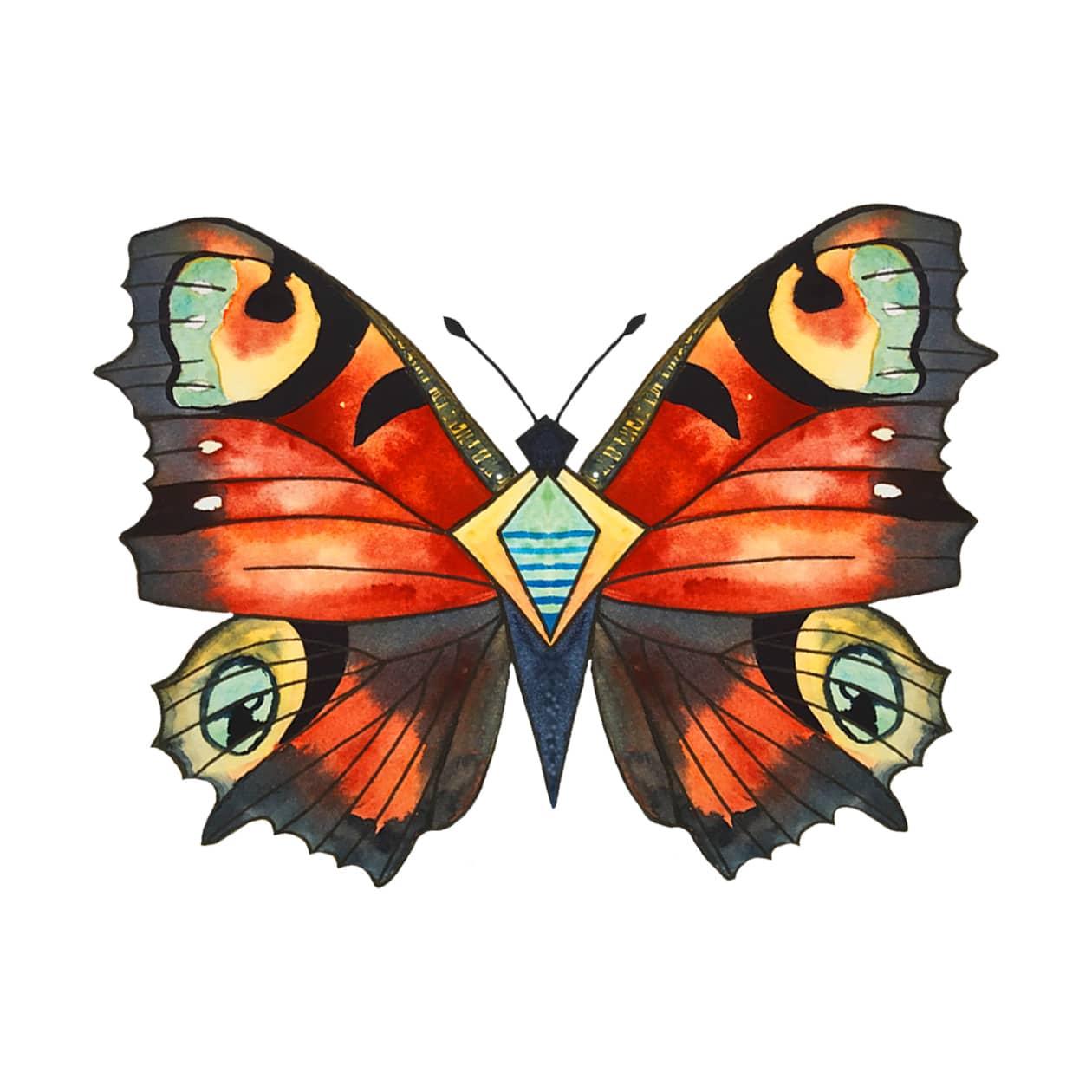 aquarelle du papillon du foulard Bienveillance de Manie V.